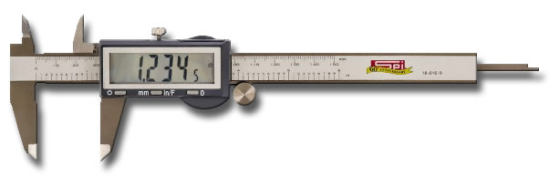 6 inch Electronic Caliper - With LCD display, will hold either the zero setting or measured value at any position for differential measurements.