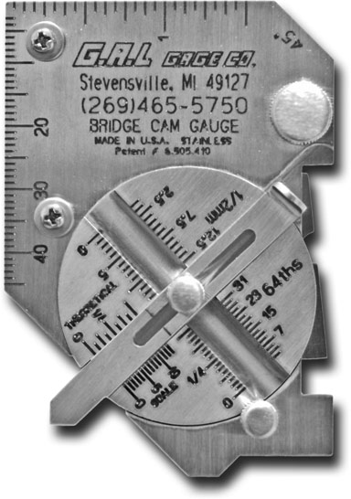 Pocket Bridge Cam Gauge - Check Angle of Preparation, Excess Weld Metal, Depth of Undercut, Depth of Pitting, and more.